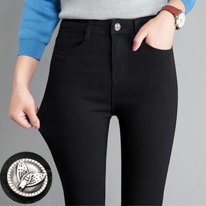 打底裤女外穿春秋冬2020新款黑色加绒小脚高腰显瘦百搭铅笔黑裤子