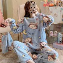 冬天加厚珊瑚绒睡衣女韩版可爱卡通毛绒保暖加绒法兰绒家居服套装