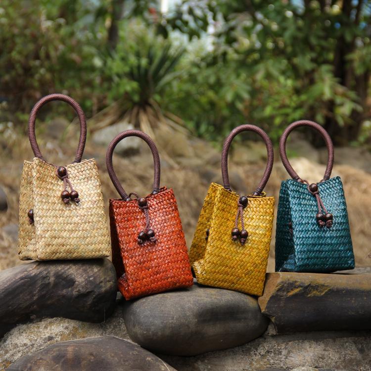 热销泰国进口民族特色中式复古手工藤草编制冰丝提手小号女士提包