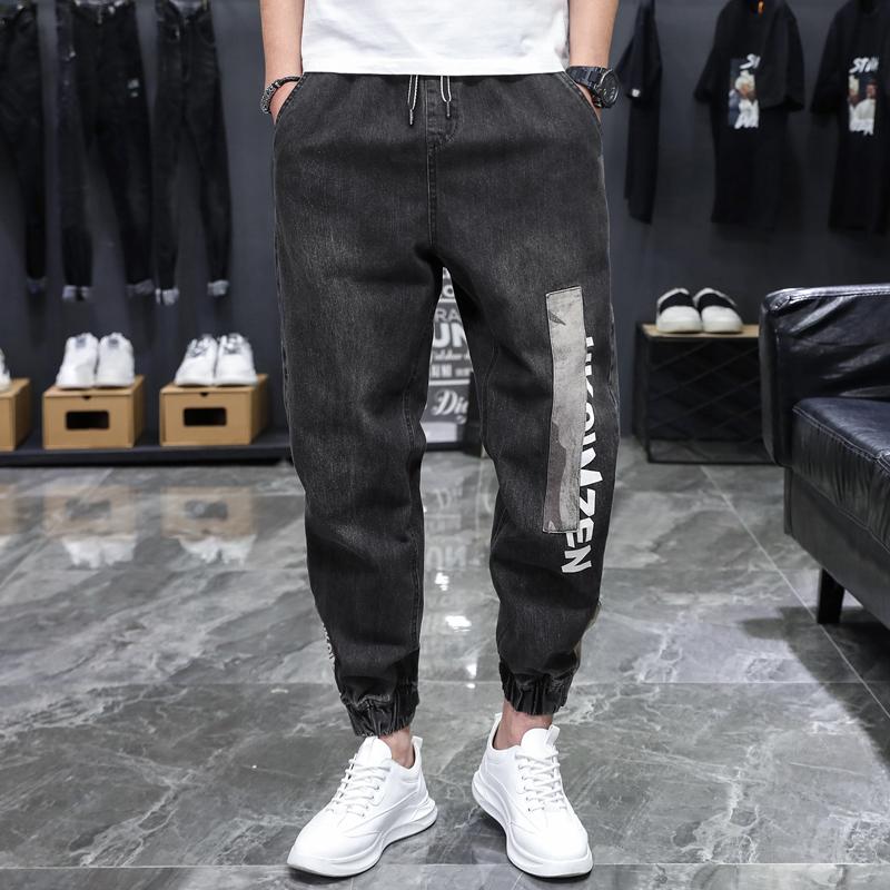 Jeans mens fashion brand tooling Leggings mens Retro patch camouflage loose Korean Trend Harlan Capris