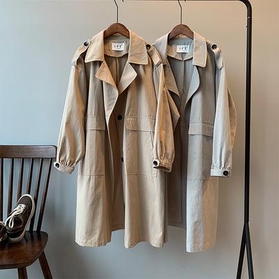 宽松中长款工装外套女韩版学生薄款过膝风衣春秋小个子英伦风大衣