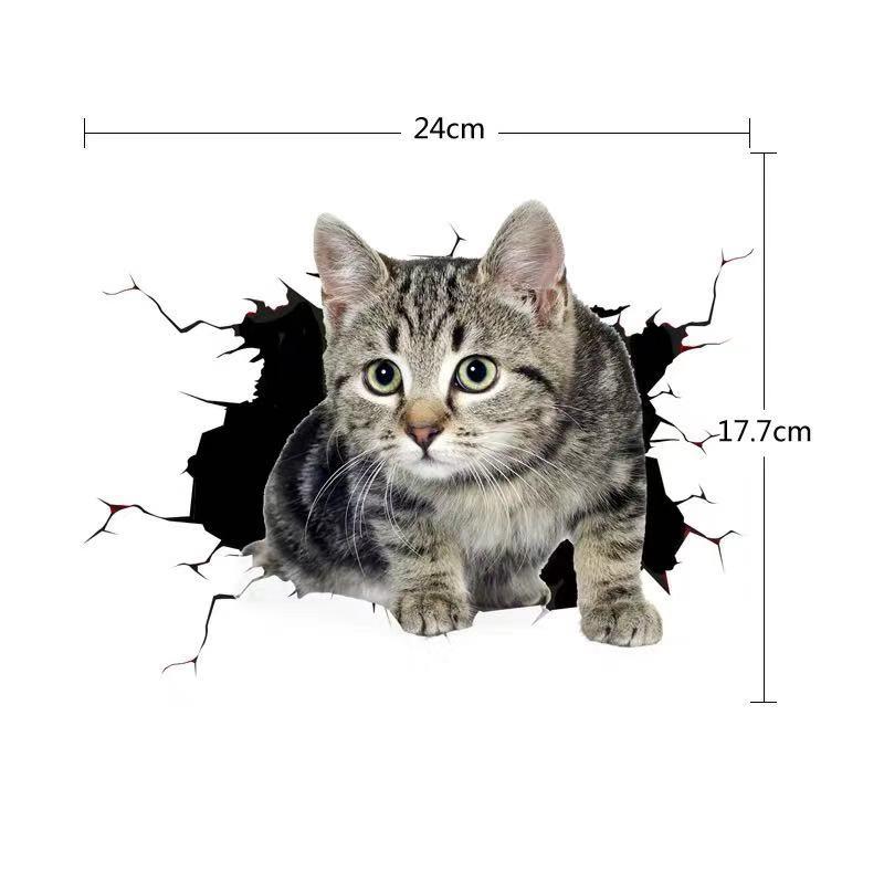 创意个性3D立体小猫汽车贴纸 可爱搞怪猫咪遮挡车身车尾划痕刮痕