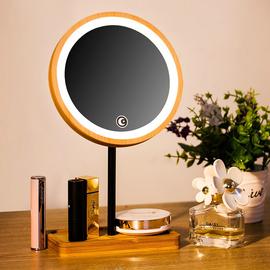 木质LED化妆镜子带灯台式补光美颜便携折叠充电学生桌面美妆热销