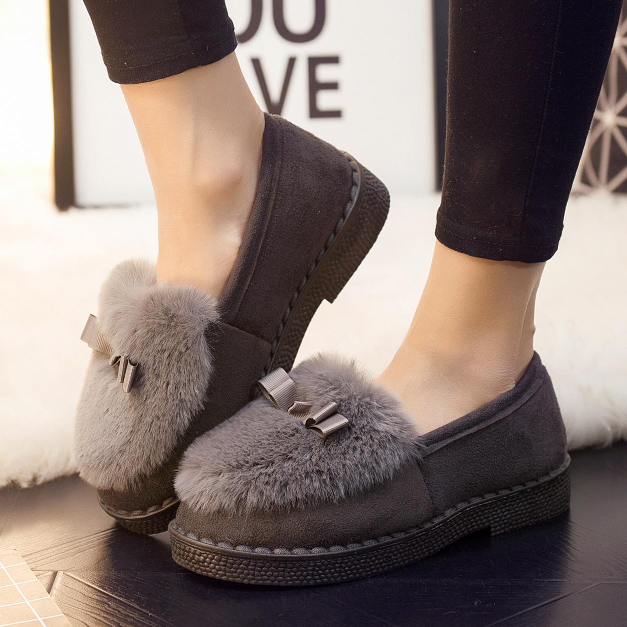 豆豆鞋女士秋冬百搭防滑外穿淺口保暖加絨韓版低幫平底懶人毛毛棉