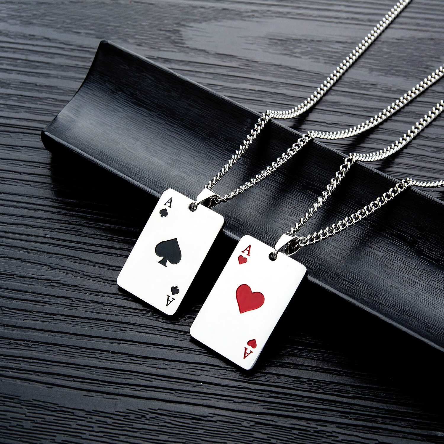 Creative poker titanium steel necklace male personality trendy male pendant minority design hip hop domineering student Long Necklace