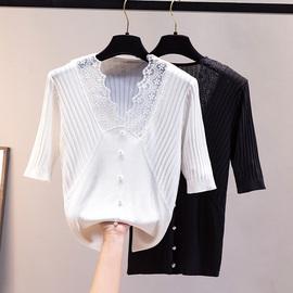 小香风短袖2021年新款t恤女夏蕾丝短款上衣修身V领白色冰丝针织衫