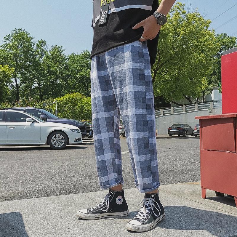 不束脚适合腿粗的黑白格纹方格格裤子男士格子仔8九分裤kuzi热天