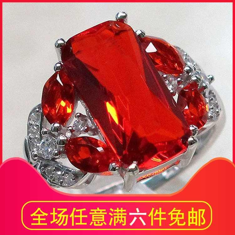New type natural imitation Ruby engagement ring European and American fashion horse eye ring hollow simulation diamond ring female