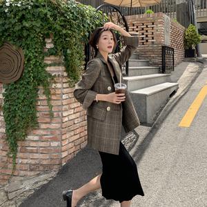 小西装女2019新款格子短外套休闲秋冬上衣网红西服套装韩版英伦风