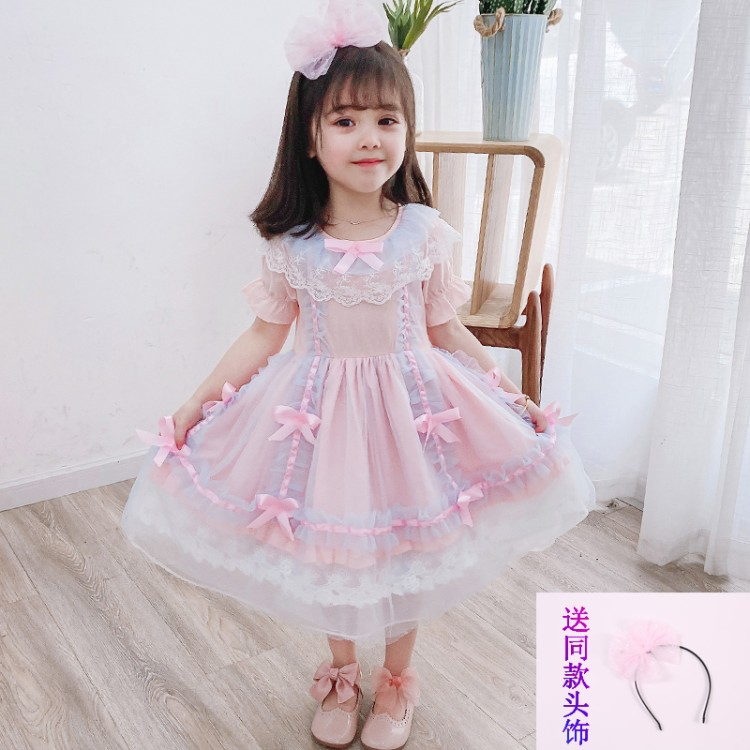 Girls dress summer dress 2020 new air net red girl baby girl Lolita Dress summer princess skirt