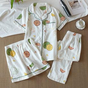 薄短裤 长裤 全棉女款 家居服套装 纯棉纱布春夏季 日系三件套睡衣短袖