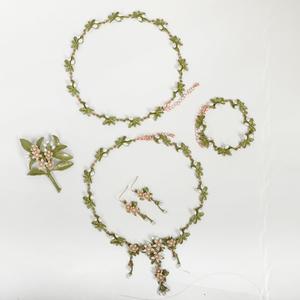 春夏美好的珍珠项链手链胸针耳环典雅首饰饰品套装