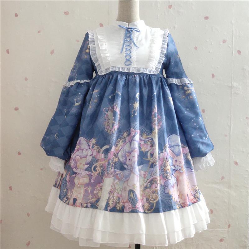 Original Japanese girl Lolita long sleeve dress high waist OP dress Princess Dress sweet and lovely