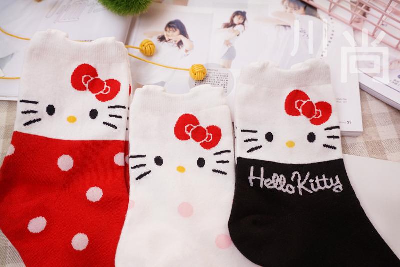 韩国进口 女士秋冬 甜美可爱立体卡通Hello Kitty袜子 中筒纯棉袜