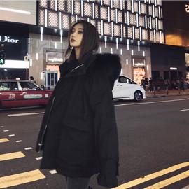 棉服女2021冬季韩版宽松大毛领棉衣连帽加厚小个子黑色工装外套潮