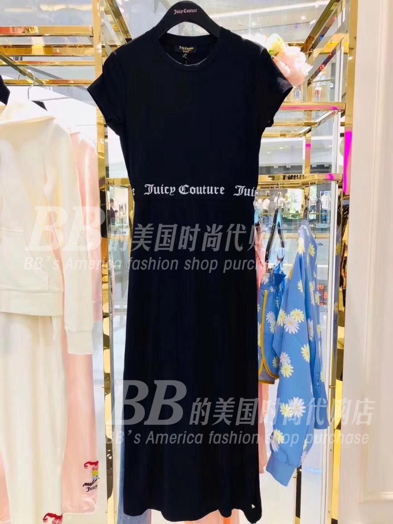 折 美国正品代购 Juicy Couture 18夏 莫代尔字母印花 露腰连衣裙