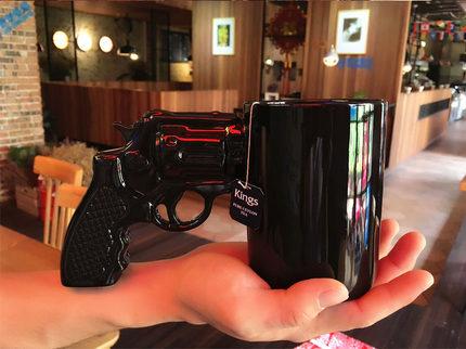 创意潮流3D左轮造型陶瓷水杯抖音生日礼物带把杯情侣男友马克个性