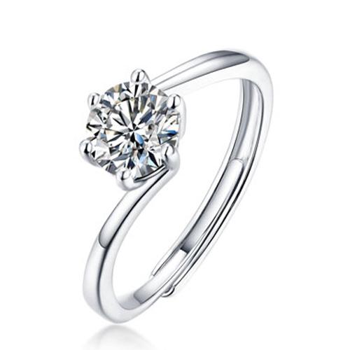 法时珠宝 美国进口天然莫桑钻石戒指D色VVS 买裸石送戒托 珍爱款