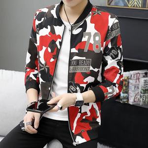 2019中国风秋冬新款男士花色夹克衫修身青年外套潮309-312P60