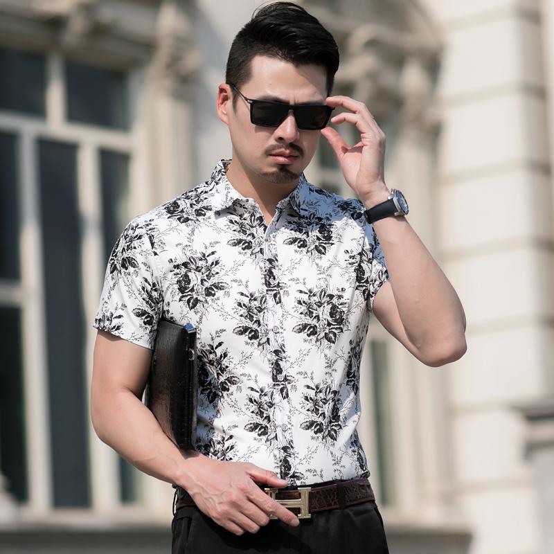 2019夏季主推款男纯棉弹力时尚印花加肥加大码短袖衬衫C7011p45