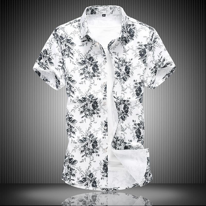 夏季男纯棉弹力时尚印花加肥加大码短袖衬衫组合图黑底C7013p45