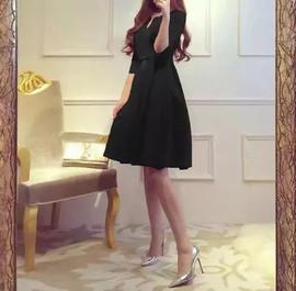 2020秋冬新款小红裙优雅气质连衣裙名媛高腰大摆裙子蓬蓬礼服裙女图片