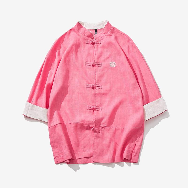 热销5件买三送一夏秋季中国风棉麻七分袖立领衬衫