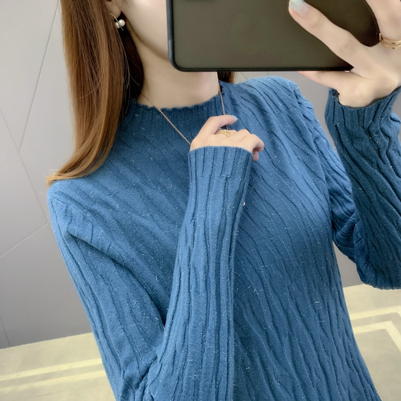 Womens versatile long sleeve T-shirt with half high collar and base coat