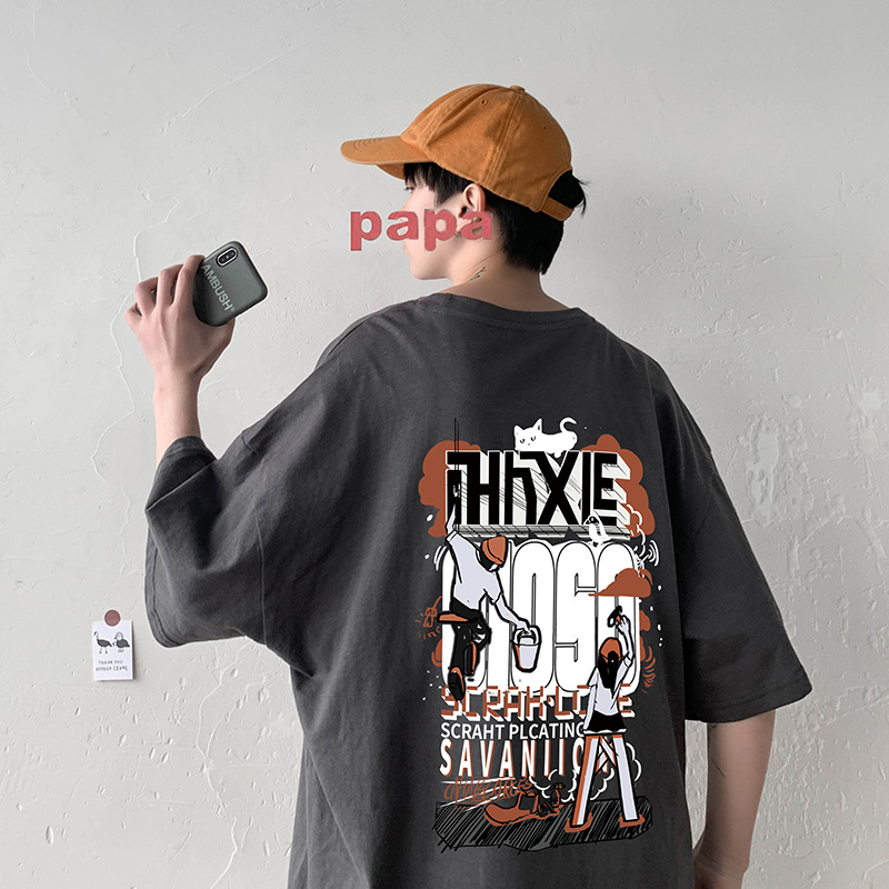 Summer new large pattern printed short sleeve T-shirt half sleeve loose student clothes