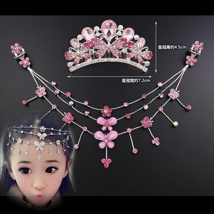 女童皇冠头饰韩国儿童公主链小女孩额头链发夹古装发饰品宝宝发卡