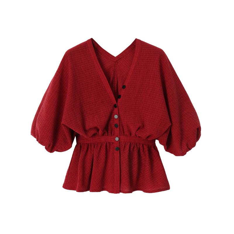 小宸 法式复古红色露锁骨小心机蝙蝠袖V领衬衫女收腰v领短袖上衣11月18日最新优惠