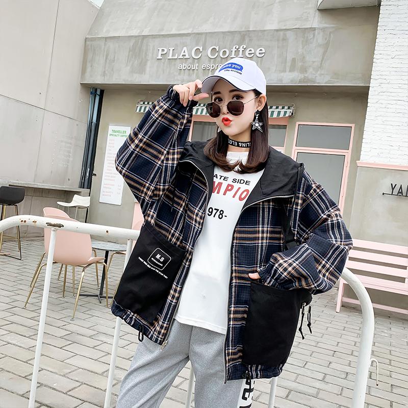 [可可爱小姐888短外套]两面穿外套女春秋2019新款韩版学生月销量3836件仅售58元