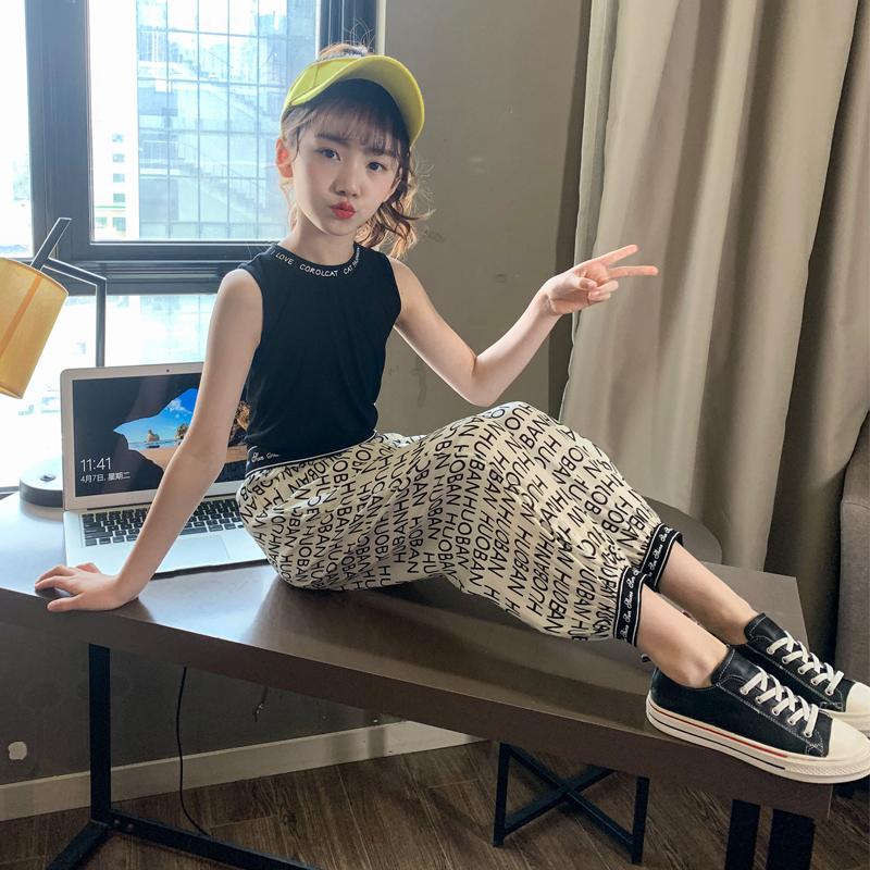 女童夏装套装2020新款韩版儿童运动中大童网红夏季两件套洋气字母图片
