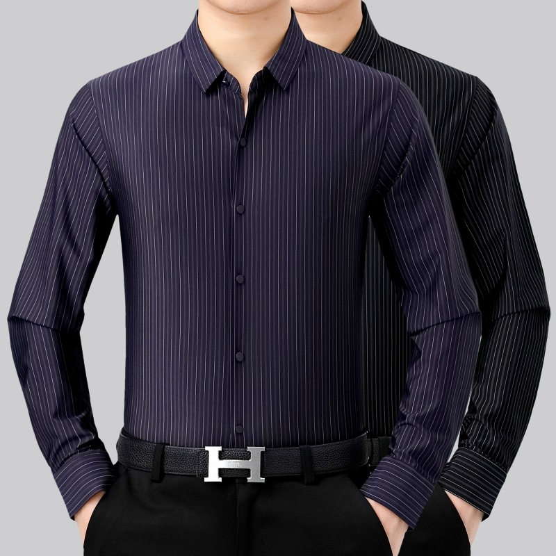 2021秋季新品时尚男式羊绒长袖条纹休闲衬衫透气舒适打底衬衣包邮
