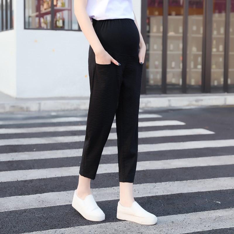 。亚麻孕妇裤2020夏季新款托腹哈伦裤怀孕初期9九分裤8八分灯笼