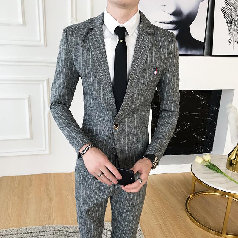 西服套装男一套修身帅气竖条纹小西装男士商务正装两件套休闲外套