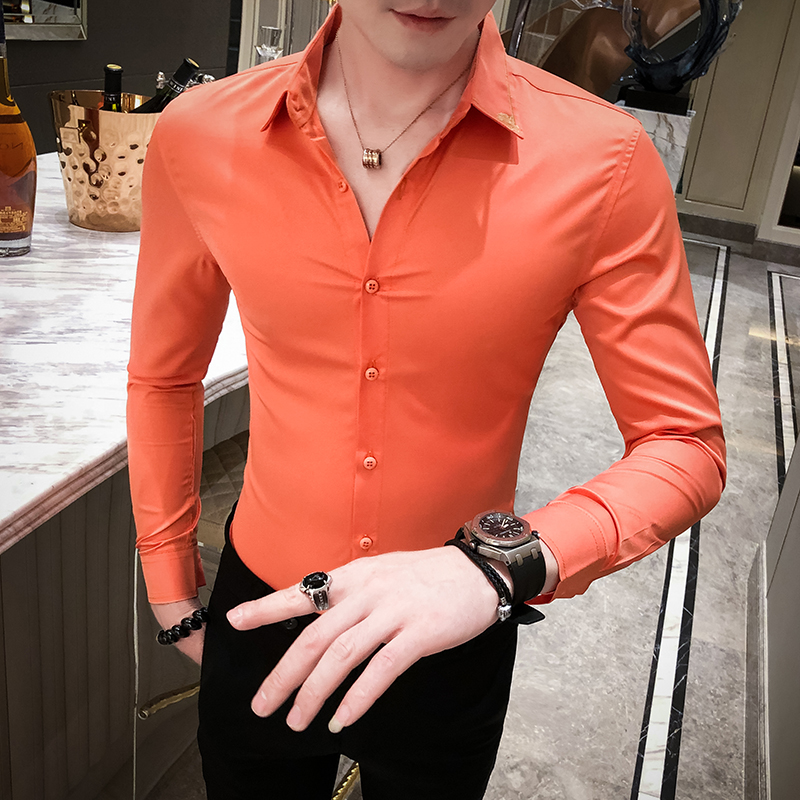 Long sleeve shirt mens formal dress night show slim casual suit solid color shirt business mens Korean fashion inch shirt