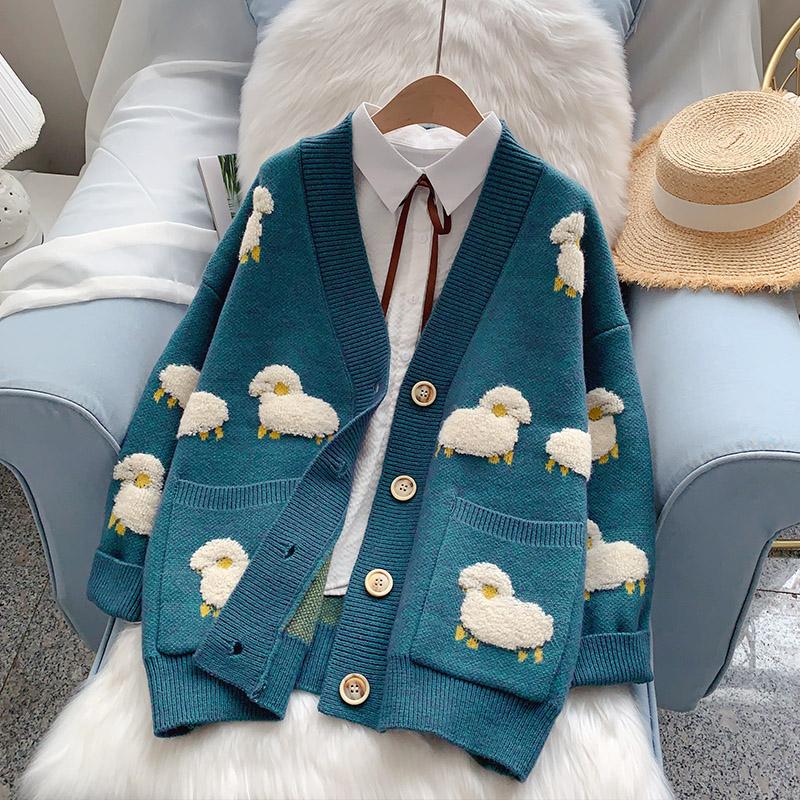 重工廓形毛衣外套女宽松秋冬外穿洋气2020年新款爆款森系针织开衫