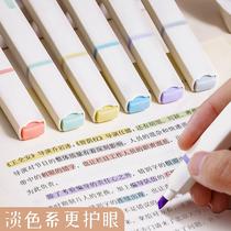 得力荧光笔马卡龙莫兰迪淡色系记号笔银光标记笔多色软头彩色笔做笔记专用大容量护眼划重点大容量莹光手账