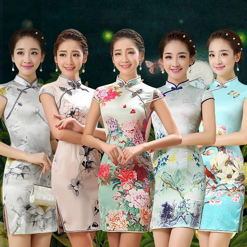旗袍夏季2018新款少女时尚短款中国风现代年轻款日常小旗袍连裙