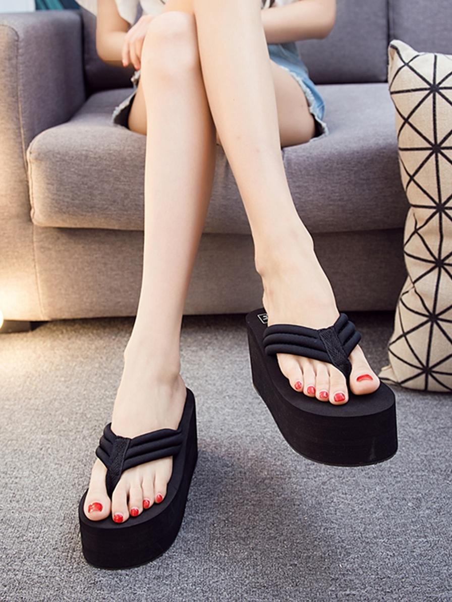 拖鞋女夏外穿人字拖厚底松糕鞋时尚高跟2020凉拖鞋坡跟夹脚凉拖
