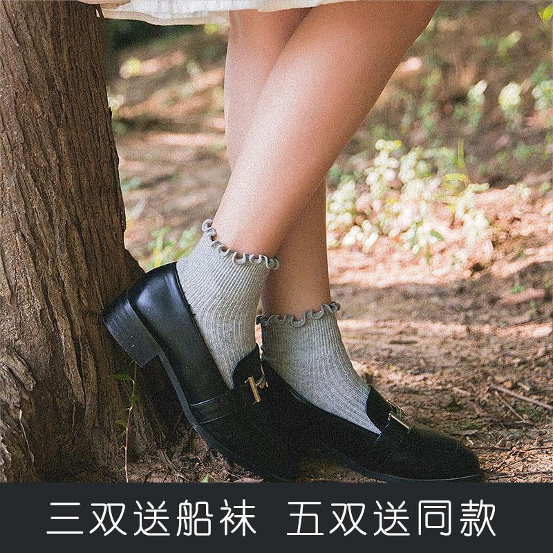 袜子女士短筒袜韩系木耳边短袜棉公主可爱袜软妹小皮鞋短袜