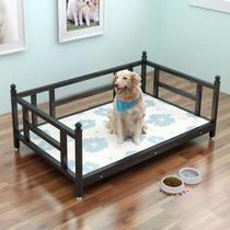 狗床可拆洗中型大型犬铁艺狗窝金毛泰迪铁床实木冬季保暖宠物垫子