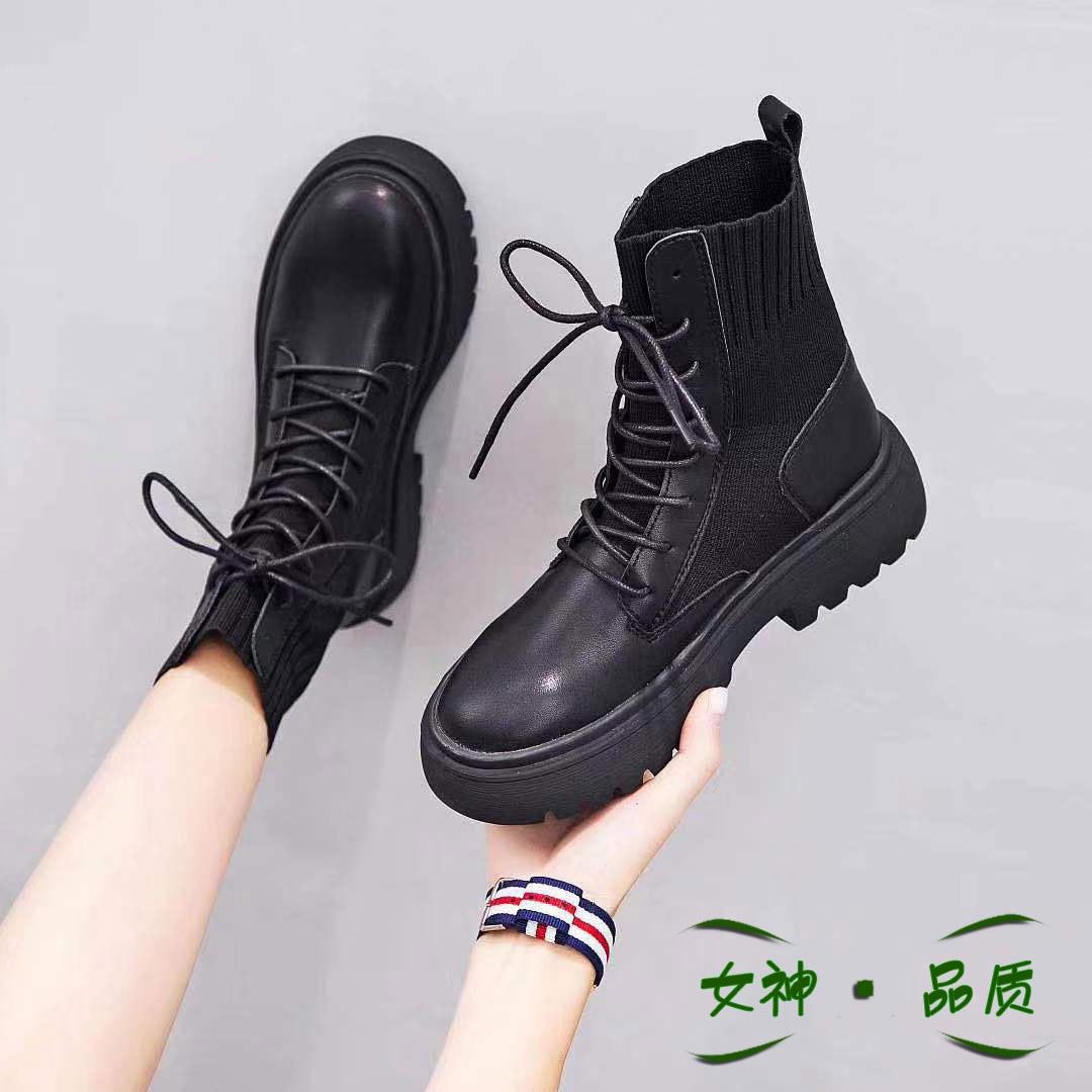 阿拉丁马丁靴2019新款真皮女靴瘦瘦短筒靴机车女鞋粗跟短靴女韩版