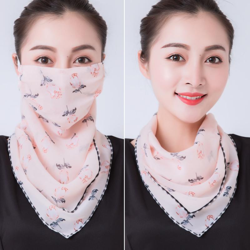防晒三角丝巾护颈脖子口罩女夏季挂耳式围巾薄款春秋面纱遮脸面罩