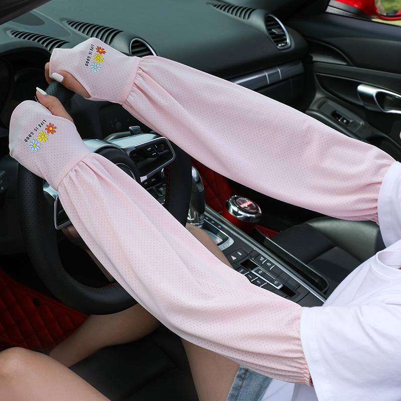 防晒冰丝袖套宽松女士夏季薄款手袖紫外线袖子开车神器护手臂网红