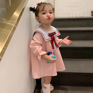 女童學院風連衣裙小童秋裝2020新款女寶寶洋氣裙子嬰兒公主裙韓版