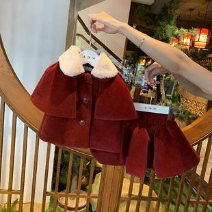 女童冬裝套裝裙斗篷小童兩件套連衣裙女寶寶洋氣時髦套裝 新年裝
