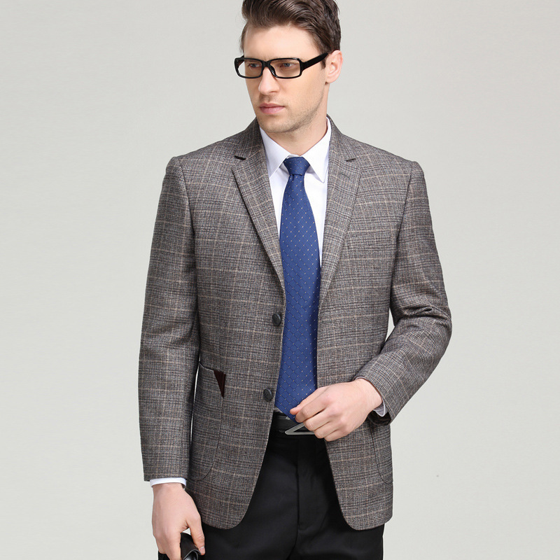 Mens suit spring and autumn fashion leisure middle aged wool single suit boutique plaid coat conventional long sleeve