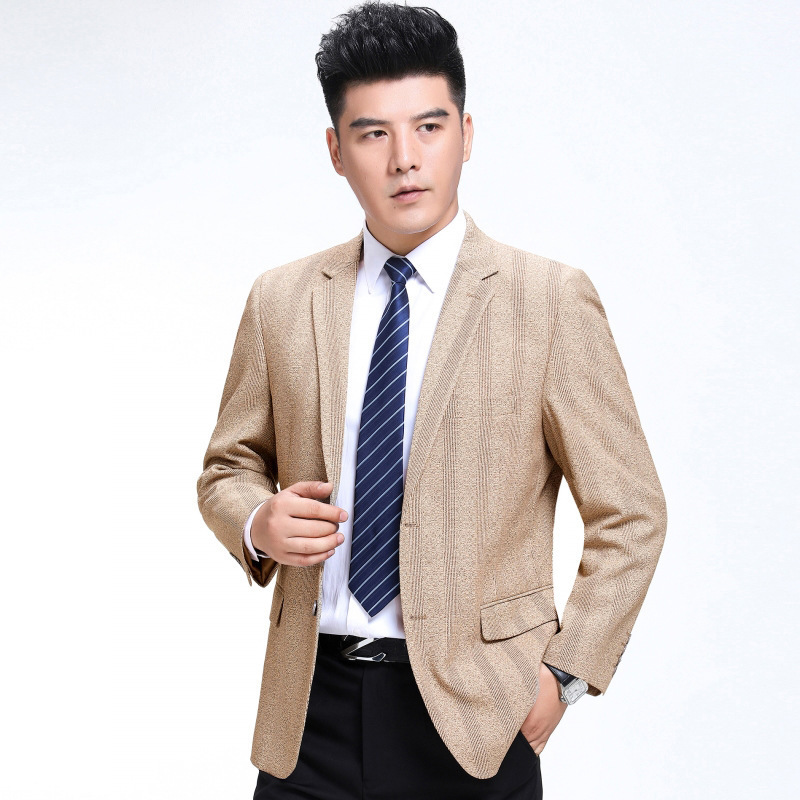 Autumn and winter mens suit fashion leisure middle-aged wool single suit stripe coat one hair substitute regular extra wide